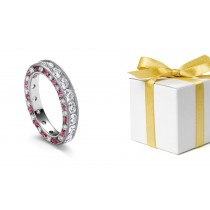 Sparkling Diamond & Pink Sapphire Wedding Ring with Diamond Halo Sides