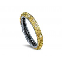 Delicate Women's Eternity Rings Featuring Sunny Yellow Sapphires & Diamonds in Precision Micro pave Settings