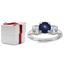 Round Blue Sapphire Three Stone Sapphire Engagement Ring with Round Diamonds in 14k White Gold