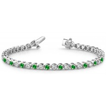 Alternating Rich Green Emeralds & Brilliant Diamonds Spaced At Intervals
