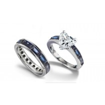 Heart Diamond & Baguette Blue Sapphire Engagement Ring & Baguette Sapphire Wedding Band in Platinum