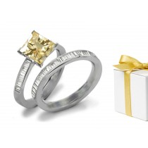 Yellow Sapphire & Diamond Engagement & Wedding Ring
