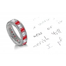 Endlessly Fascinating: Emerald Cut Diamonds & Rubies Eternity Ring