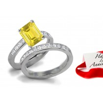 Design & Style: Lively Bright Yellow Sapphire & Sparkling Diamond Engagement & Wedding Bands