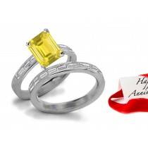 Masterpieces: Yellow Sapphire & Brilliant Cut Diamond Engagement & Wedding Bands