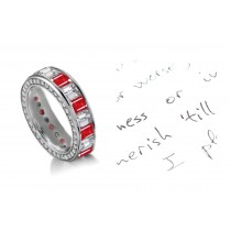 The Most Precious: Emerald Cut Diamonds & Rubies Eternity Ring