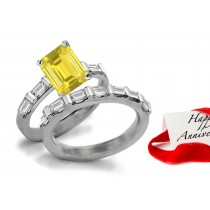 Stunning: Pure Intense Yellow Sapphire & Diamond Engagement & Wedding Bands