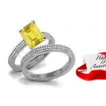 Exquisite: Beautiful Fine Yellow Sapphire Sparkling Diamond Engagement & Wedding Bands