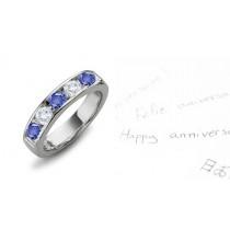5 Stone Round Diamond & Round Sapphire Gold Ring