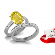 She'll Love: Brightest Rich Yellow Sapphire & Diamond Engagement & Wedding Bands