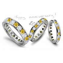 Round Diamonds & Lively Yellow Sapphire Eternity Wedding Anniversary Rings
