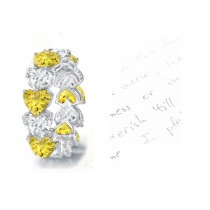 Yellow Sapphire Hearts & Diamond Hearts Stylish Unique Eternity Rings