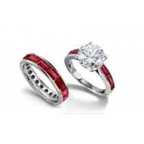 Round Diamond & Baguette Ceylon Ruby Engagement Ring Wedding Band in Gold