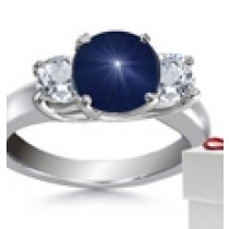 Round Oval Blue Sapphire Three Stone Engagement Ring with Round Diamonds in 14k White Gold