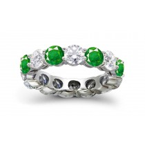 Sparkling Diamond Emerald Shared-Prong Eternity Ring