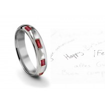 Burnish Set Baguette Ruby Mens Ring in Mens Ring Size 9 to 12