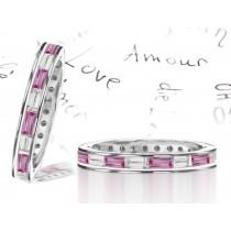 Baguette Pink Sapphire & Diamond Eternity Rings