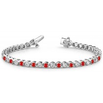 Ruby & Diamond Straight Edge or Scalloped Bracelet