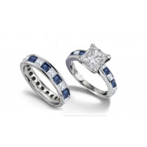 Princess Cut Diamond & Blue Sapphire Engagement Ring & Matching Gold Band