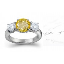 Pure & Glittering: Yellow Sapphire & Diamond Engagement Ring