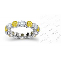 Yellow Sapphire & Diamond Bar Set Eternity Ring Will Draw Crowds Attention