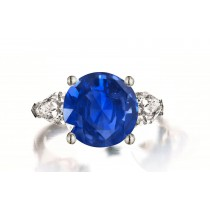 Custom Manufactured Three Stone Pear-Shaped Diamonds & Round Blue Sapphire Ring
