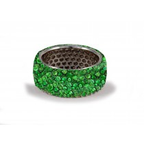 Latest Collection: Women's Halo Micro pave Precision Set Green EmeraldEternity Rings Available in Gold or Platinum for Wedding or Anniversary