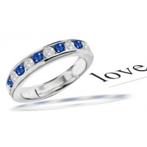 11 Stone Sapphire & Diamond Mens Ring in Size 9 to 12