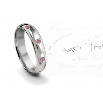 Burnish Set Heart PinkDiamond Eternity Ring