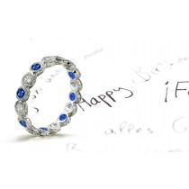 Art DecoBlue Sapphire & Diamond Eternity Band