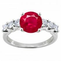 Ruby Diamond Ring:Ruby Round and Round Diamonds in Platinum