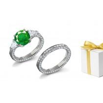Timeless & Eternal 3 StoneSquare Gemstone Emerald & Pear CutDiamond Halo Ring & GoldHaloDiamond Band