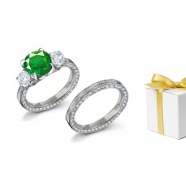Signify Eternal Love:Nature Classic Emerald & Diamond 3 Stone Ring & Masterfully Decorated White Gold Band