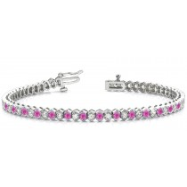 Diamond and Precious Gemstone Jewelry: Alternating Rich Blue Sapphires & Brilliant Cut Diamonds Flexible Bracelet