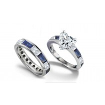 Heart Diamond & Baguette Sapphire & Diamond Accents Engagement Ring & Sapphire Diamond Wedding Ring