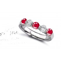 A Flame with Desire: Strikingly Elegant Ruby & Diamond Eternity Ring