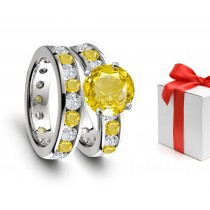Exceptional: Beautiful Yellow Sapphire & Diamond Engagement & Wedding Rings