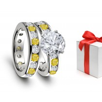 Distinctive: Yellow Sapphire & Diamond Engagement & Wedding Rings