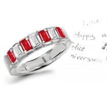 Elegant & Refined: Gold Ruby & Diamond Wedding Anniversary Eternity Ring