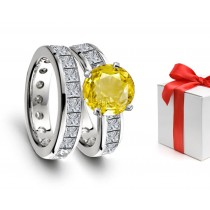 Impeccable: Yellow Sapphire & Diamond Engagement & Wedding Rings
