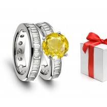 Promises: Lively Yellow Sapphire & Diamond Wedding & Engagement Rings