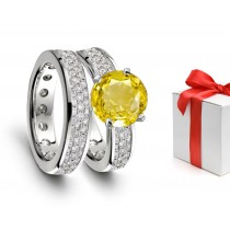 Magic & Mystery: Yellow Sapphire & Diamond Engagement & Wedding Rings