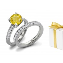 Impressive: Fine Yellow Sapphire & Diamond Engagement & Wedding Rings