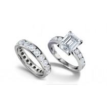 Truly Unique Emerald Cut Diamond Engagement Ring & Diamond Wedding Band