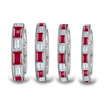 Baguette Ruby & Diamond Channel Set Wedding Band in Created in Platinum & Gold