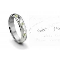 Burnish Set Heart Green Diamond Eternity Ring