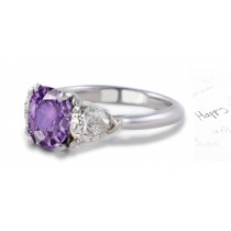 Fine Very Popular Purple Sapphire & Glittering Diamond EngagementRing
