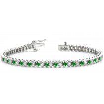 Circles of Emerald & Diamond Link Bracelet