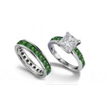 Princess Cut Diamond & Columbian Emerald Engagement Ring & Band