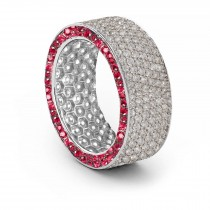 Shop Fine Quality Made To Order Round pave Set Diamond & Red Ruby Eternity Style Wedding & Anniversary Rings
